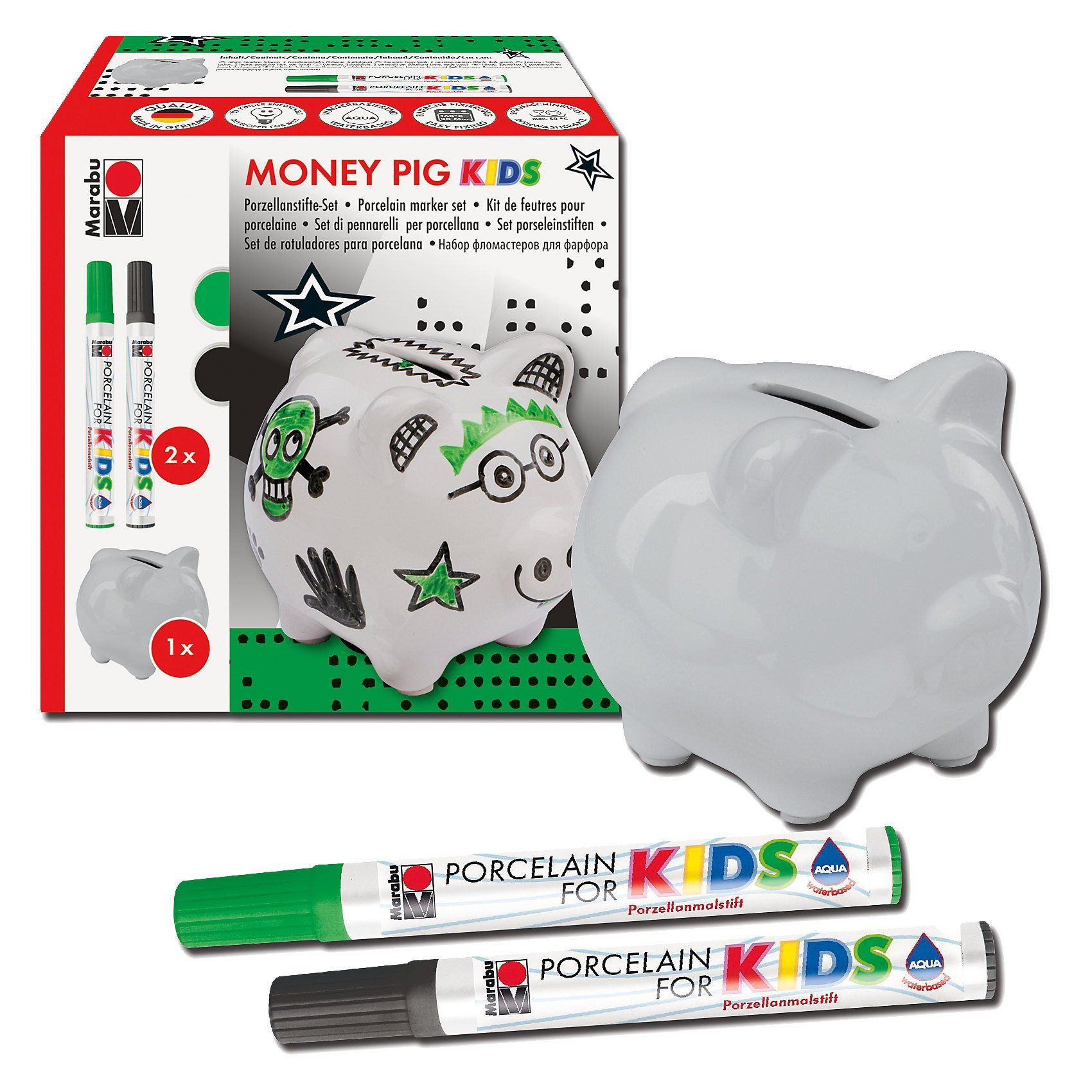 Marabu Porcelain For Kids Set Spardose Money Pig