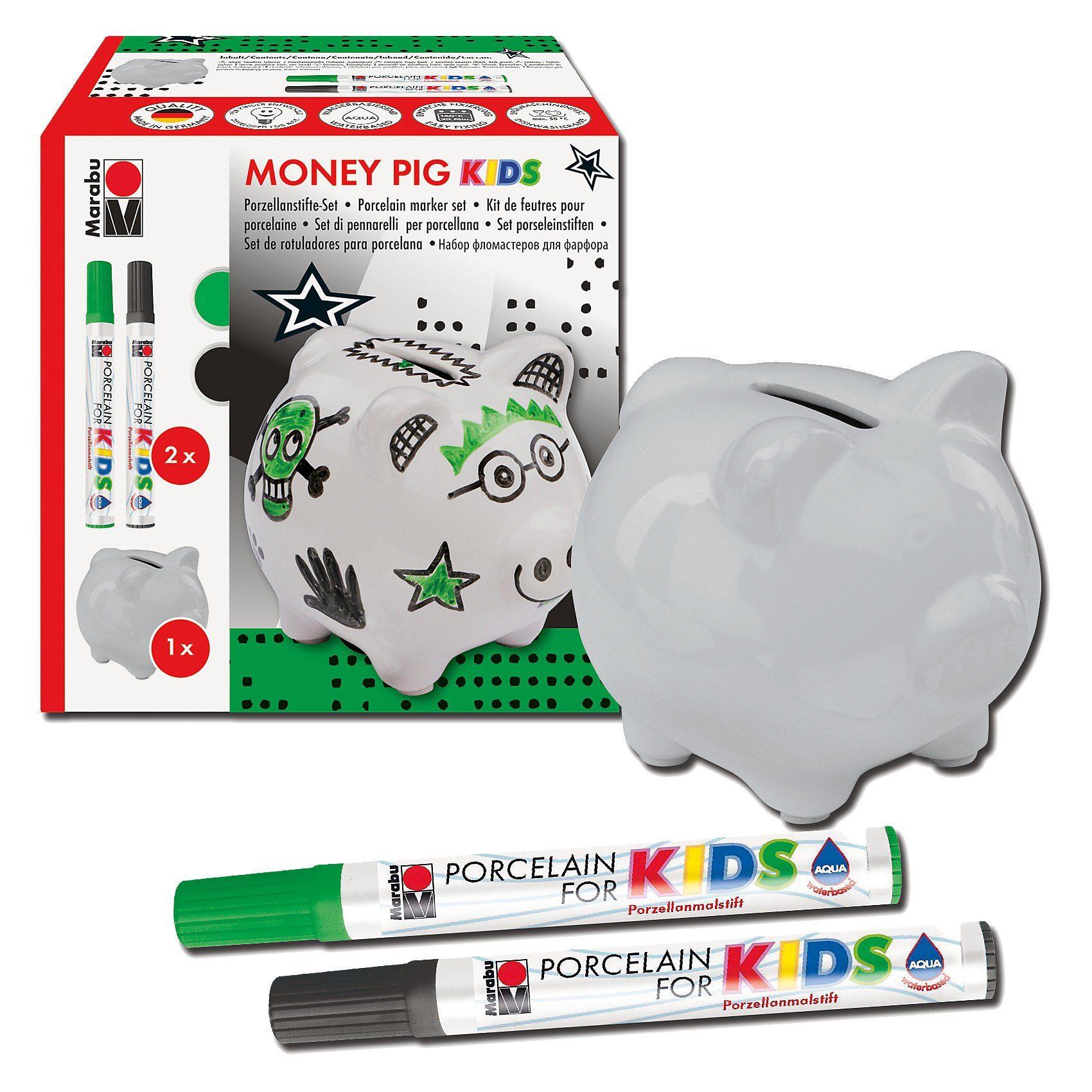 Marabu Porcelain For Kids Set Spardose Money Pig