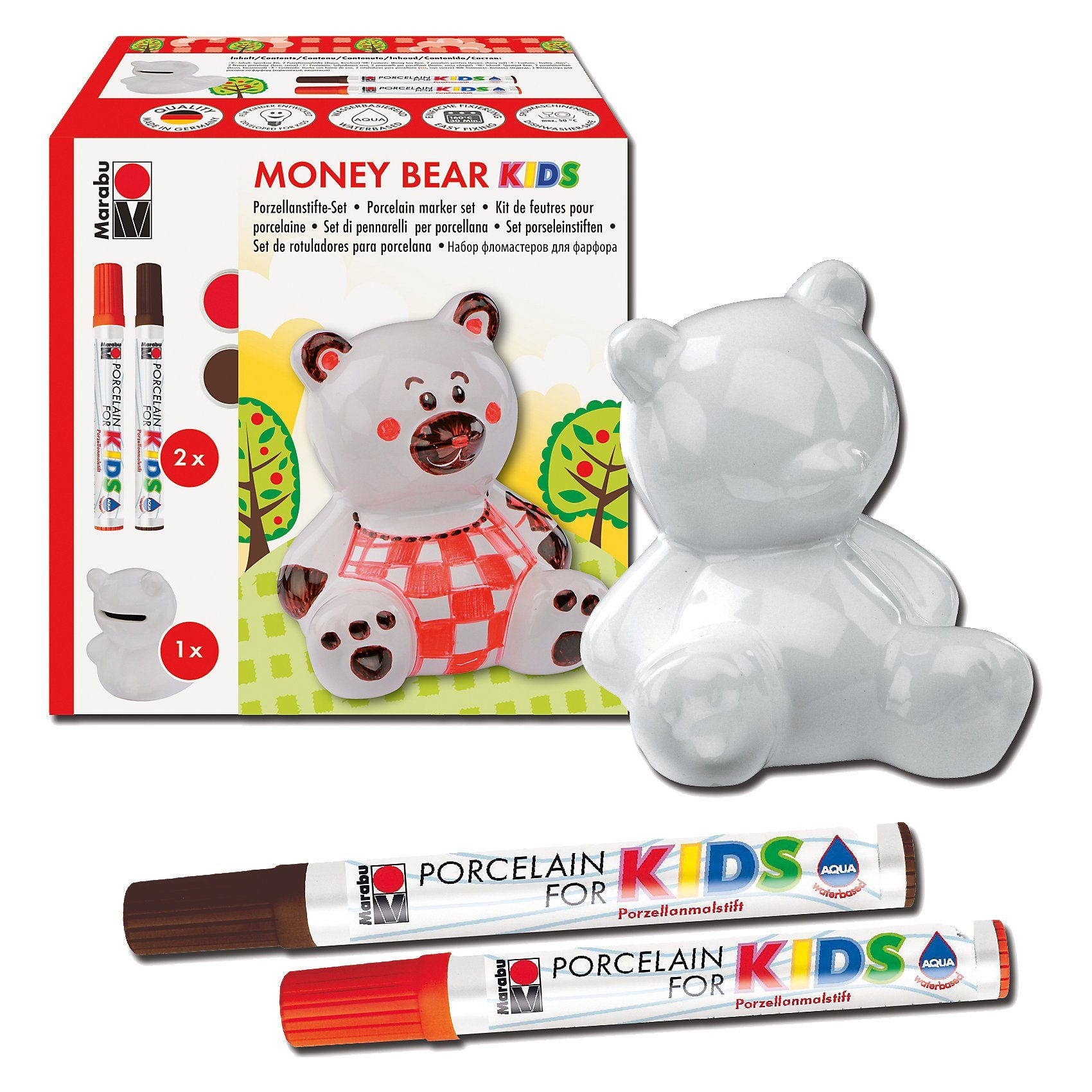 Marabu KIDS Porzellanfarbe Kreativset Spardose Money Bear