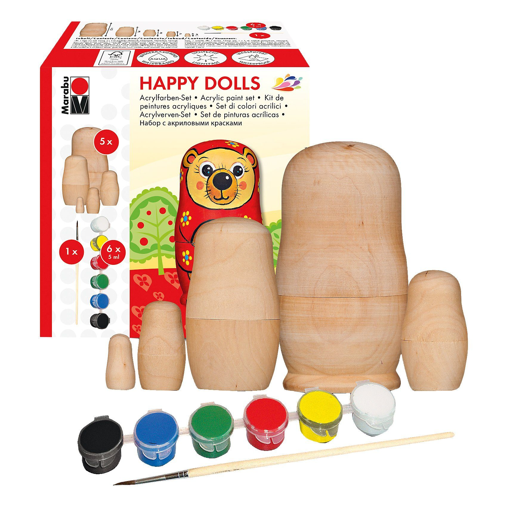 Marabu Kreativset Acryl Happy Dolls, 8-tlg.