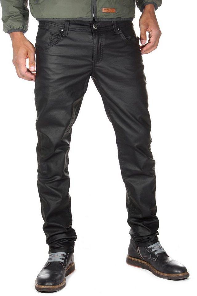 Bright Jeans Hose Lederoptik regular fit in schwarz