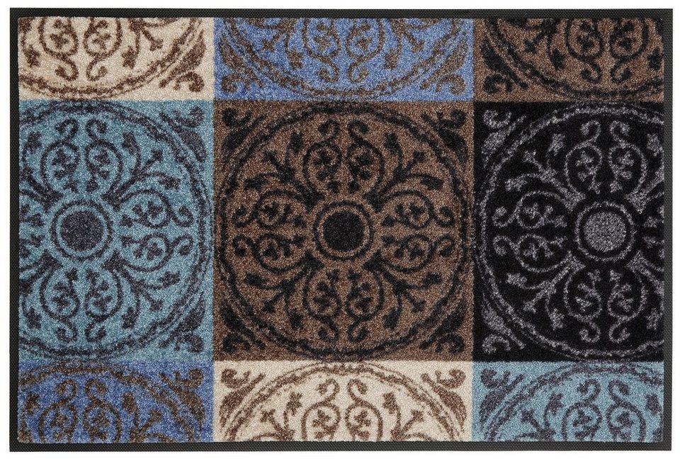 Fußmatte, wash+dry by Kleen-Tex, »Da Capo«, rutschhemmend beschichtet in braun-blau
