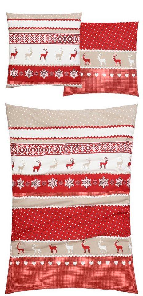 Bettwäsche, SisterS, »Bernau«, mit winterlichen Motiven in rot-beige