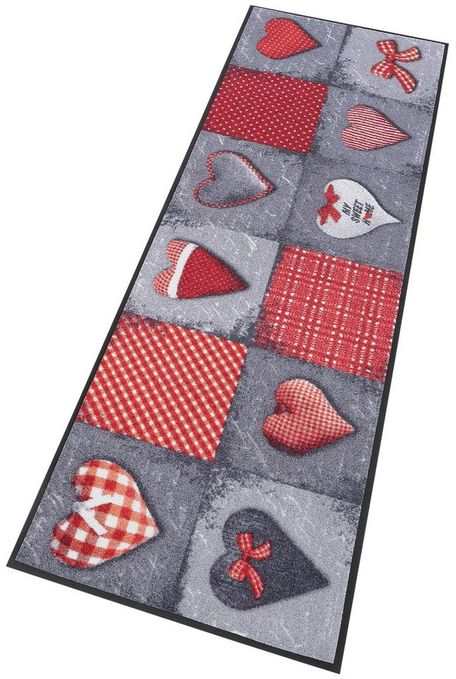 Läufer »My Sweet Home grey«, wash+dry by Kleen-Tex, rechteckig, Höhe 7 mm in grau-rot