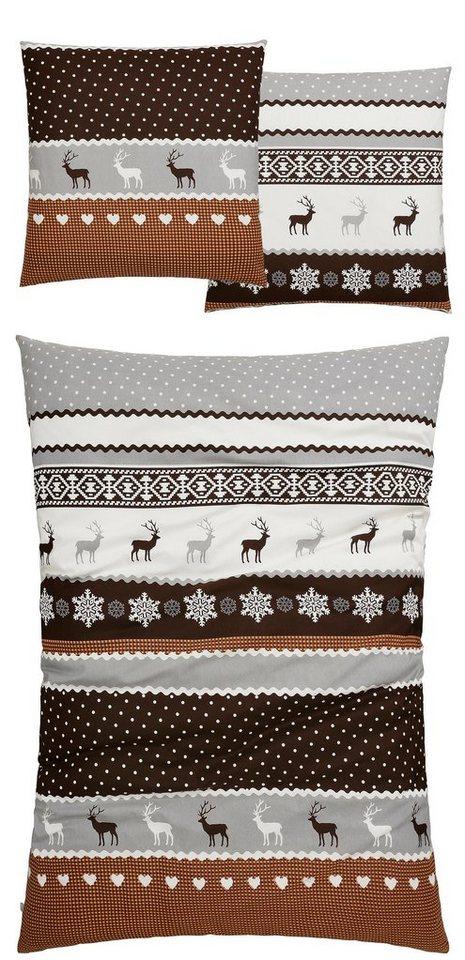 Bettwäsche, SisterS, »Bernau«, mit winterlichen Motiven in braun-silber