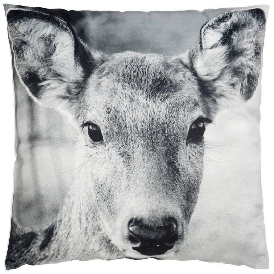 Kissenbezug, Dreams, »Reh«, mit winterlichem Motiv in weiß-grau