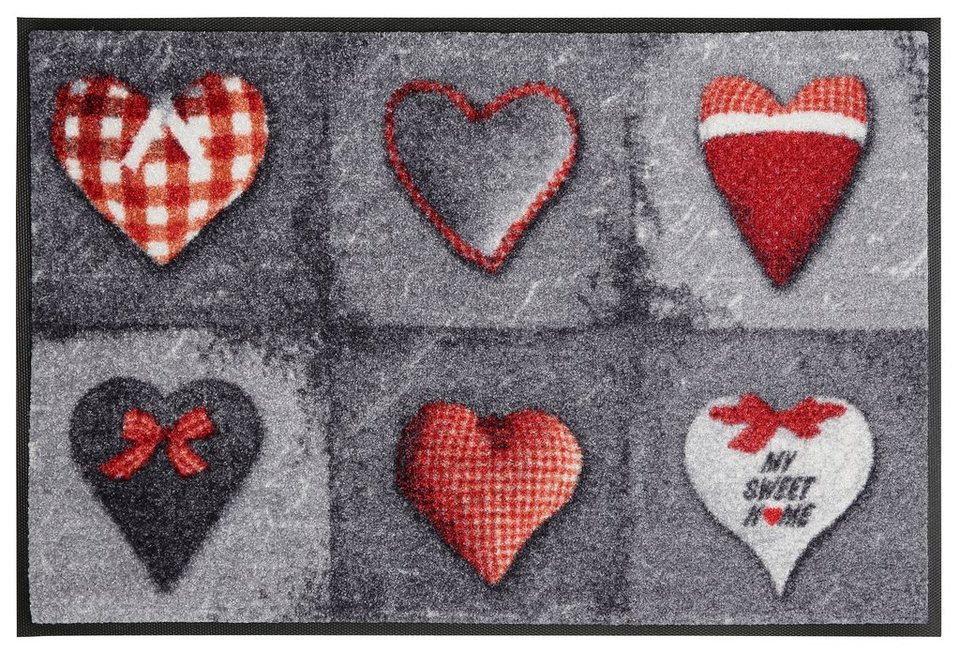 Fußmatte »My Sweet Home grey«, wash+dry by Kleen-Tex, rechteckig, Höhe 9 mm in grau-rot