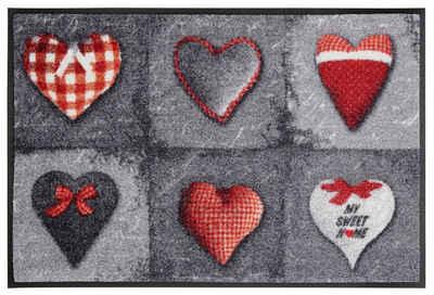 Fußmatte »My Sweet Home grey«, wash+dry by Kleen-Tex, rechteckig, Höhe 9 mm, Schmutzfangmatte, In- und Outdoor geeignet, waschbar