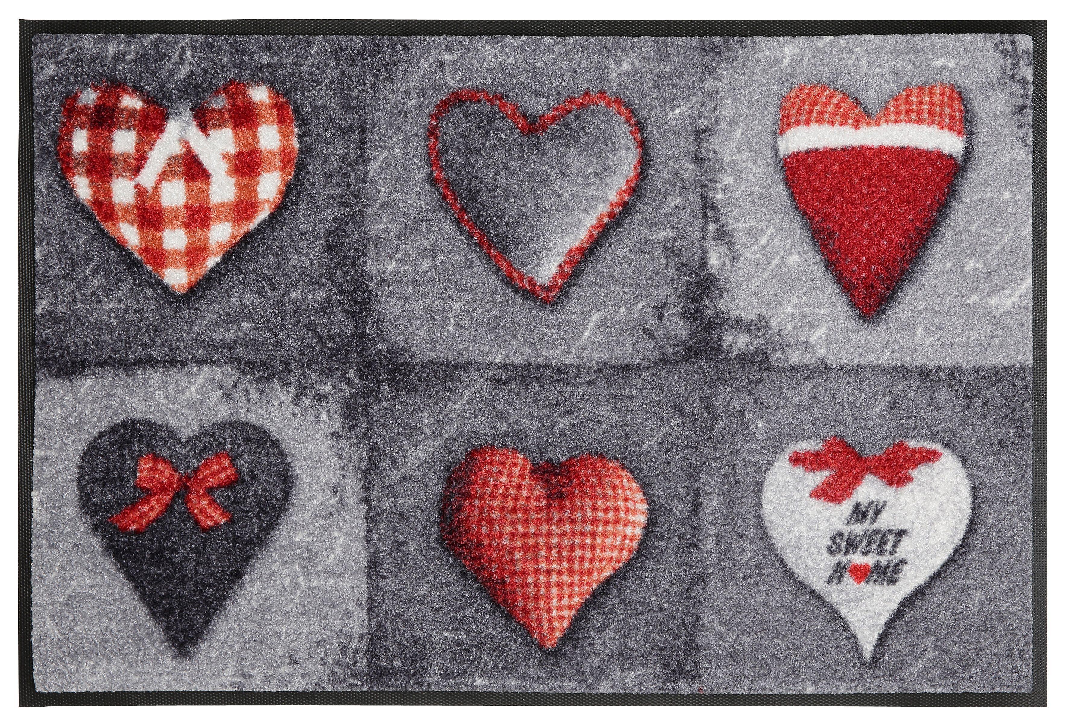 Fußmatte »My Sweet Home grey«, wash+dry by Kleen-Tex, rechteckig, Höhe 9 mm