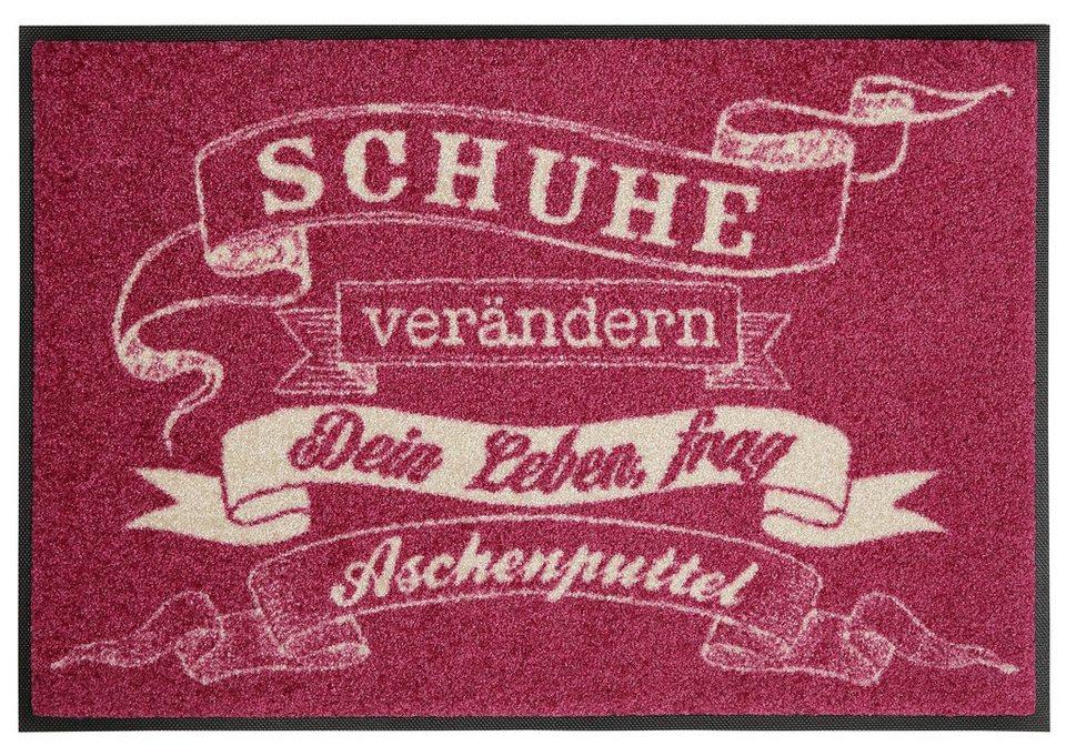 Fußmatte, wash+dry by Kleen-Tex, »Aschenputtel«, rutschhemmend beschichtet in rosa-weiß