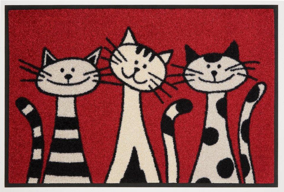 Fußmatte »Three Cats«, WASH + DRY BY KLEEN-TEX, rechteckig, Höhe 9 mm in rot-beige