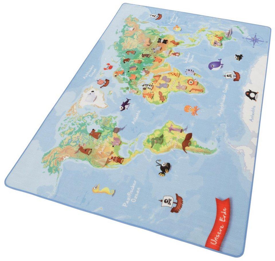 Kinder-Teppich, Böing Carpet, »Weltkarte W-3« in blau