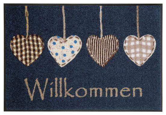 Fußmatte »Cottage Hearts«, wash+dry by Kleen-Tex, rechteckig, Höhe 7 mm, Schmutzfangmatte, In- und Outdoor geeignet