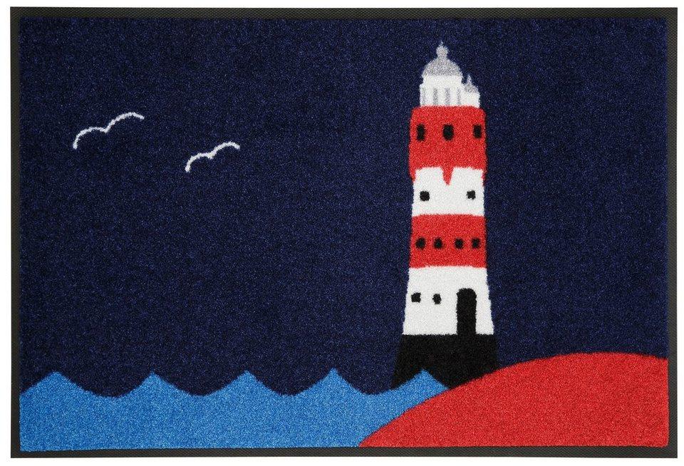 Fußmatte »Leuchtturm«, wash+dry by Kleen-Tex, rechteckig, Höhe 7 mm in blau-rot