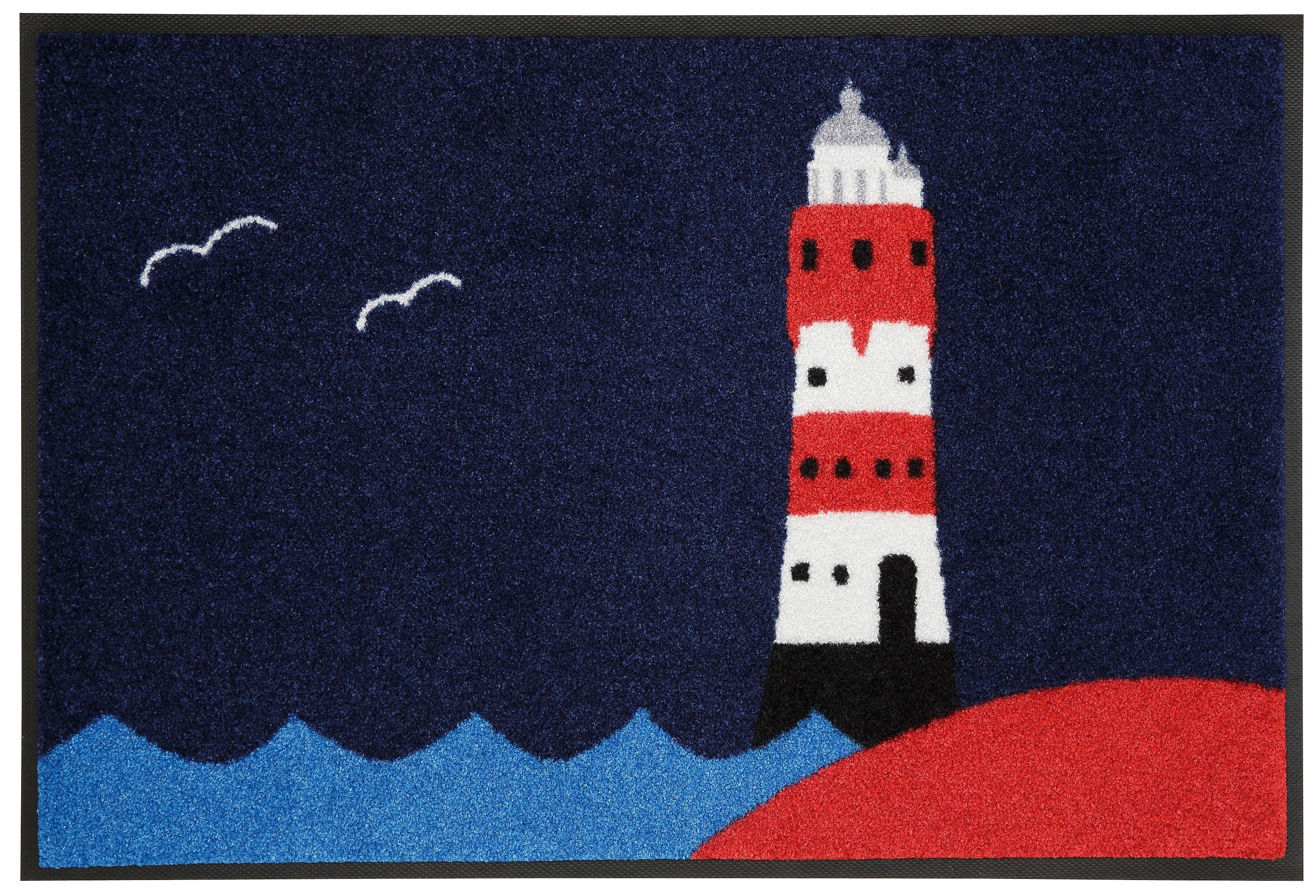 Fußmatte »Leuchtturm«, wash+dry by Kleen-Tex, rechteckig, Höhe 7 mm, In- und Outdoor geeignet