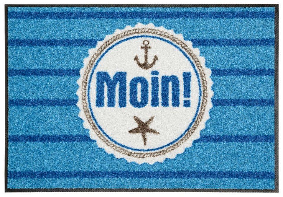 Fußmatte, Salonloewe, »Moin« in blau
