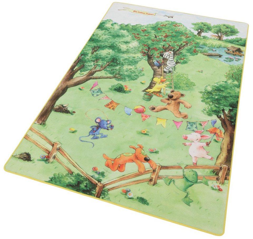 Kinder-Teppich»LS-205« , Die lieben sieben in grün