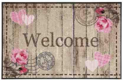 Fußmatte »Welcome Roses«, Salonloewe, rechteckig, Höhe 7 mm, waschbar, In- und Outdoor mit rutschhemmender Beschichtung