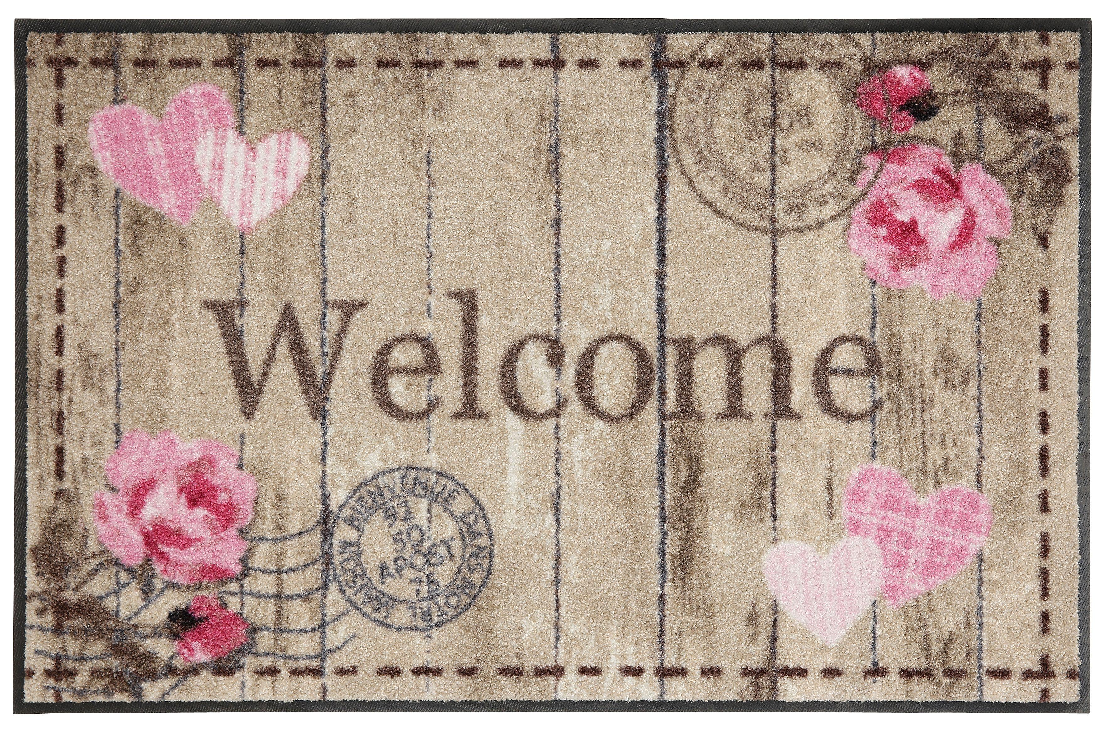 Fußmatte, Salonloewe, »Welcome Roses«, waschbar, In- und Outdoor mit rutschhemmender Beschichtung