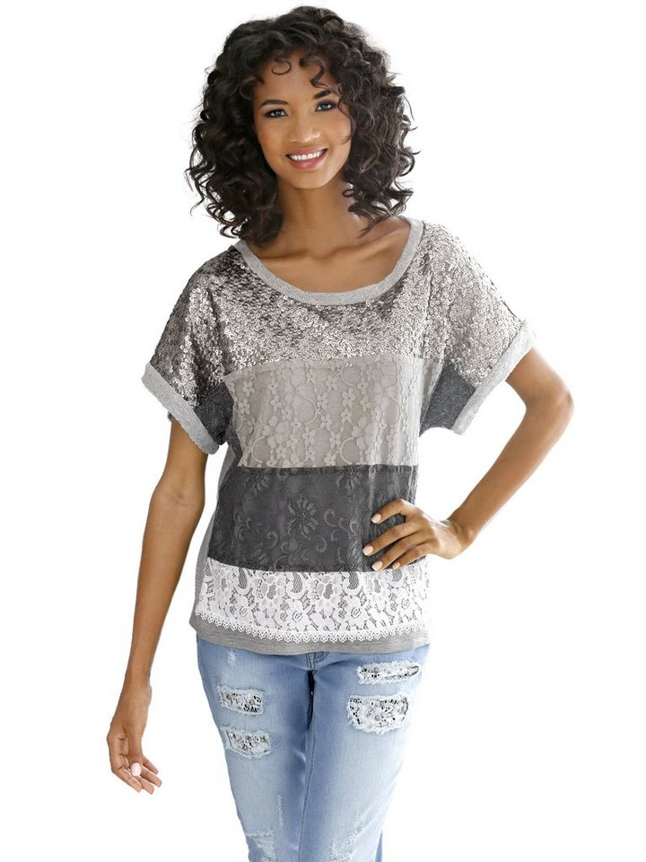 LINEA TESINI by Heine Oversized-Shirt in grau