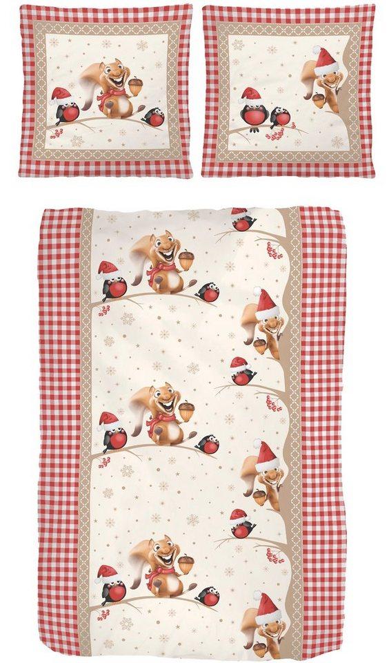 Bettwäsche, IDO, »Squirrel«, mit lustigen Eichhörnchen in rot-beige