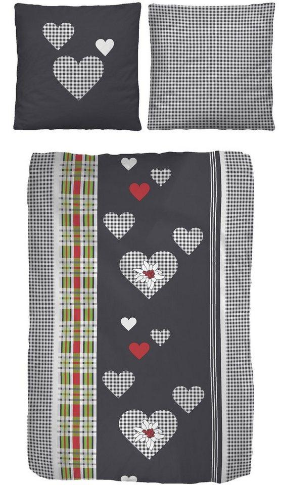Bettwäsche, IDO, »Heartcheck«, mit kleinen Herzen in graphit-rot