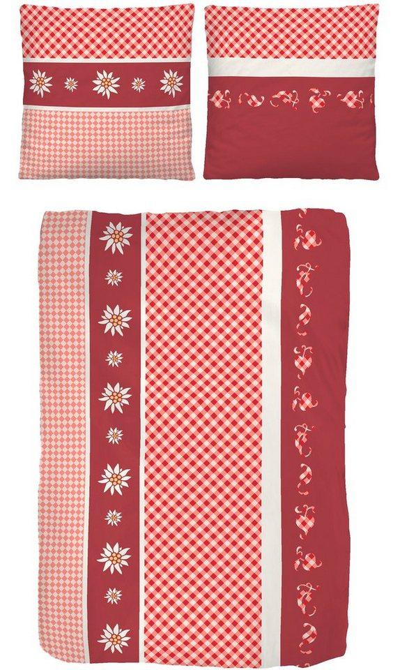 Bettwäsche, IDO, »Gemütlich«, mit Edelweiß-Motiv in rot
