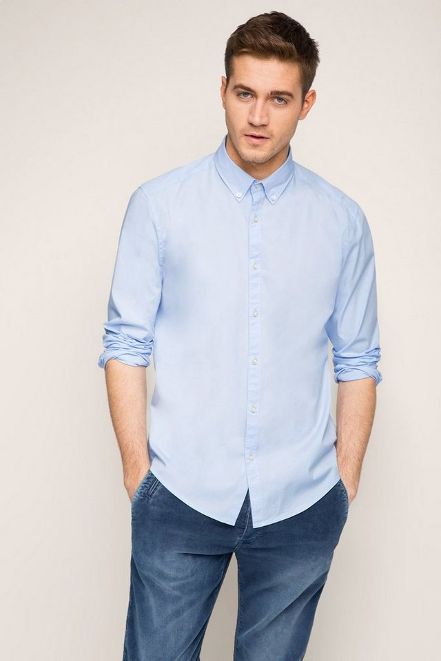 ESPRIT CASUAL Button-Down-Hemd aus Baumwoll-Stretch in SKY BLUE