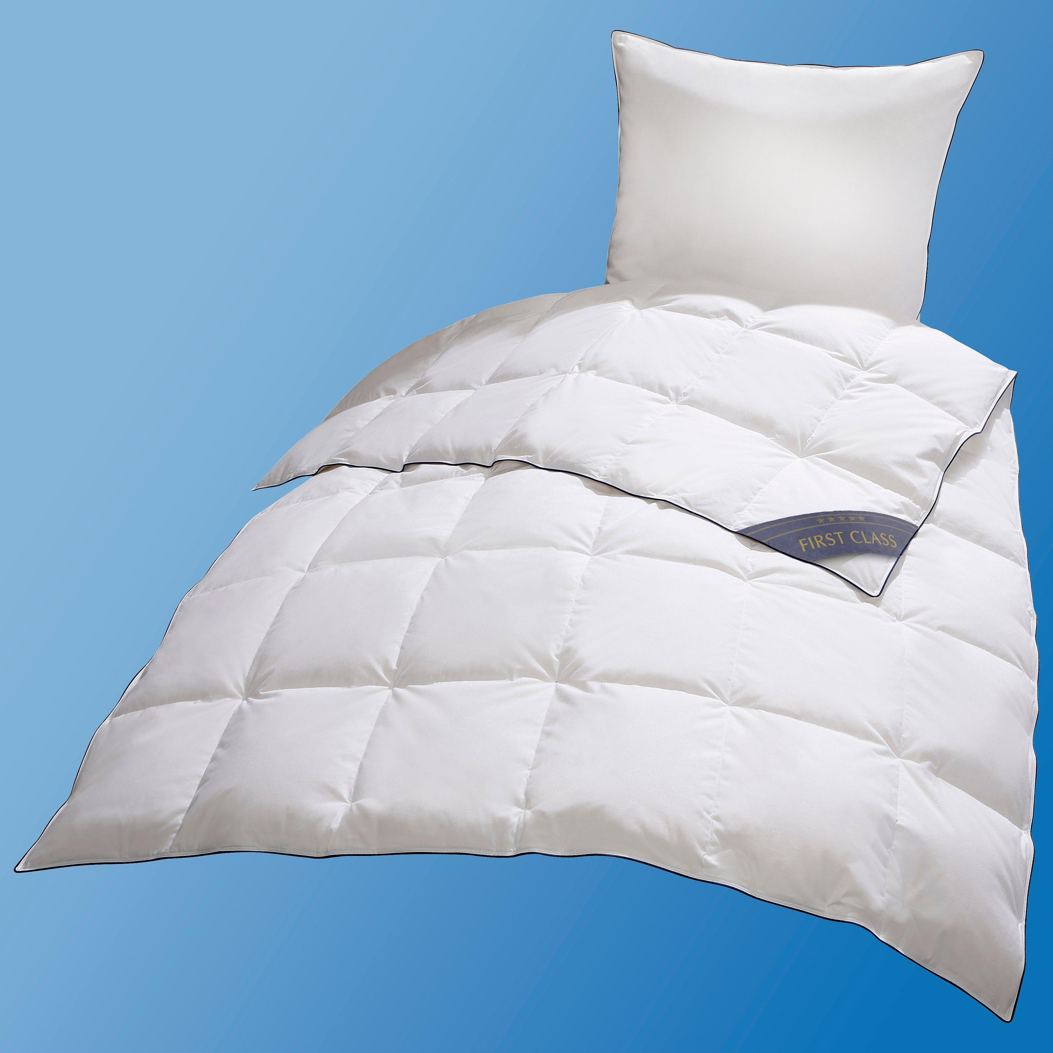 Daunenbettdecke, »Ben«, QUEENS TEXTILES, leicht, Füllung: 90% Daunen, 10% Federn, Bezug: 100% Baumwolle, (1-tlg) | Heimtextilien > Decken und Kissen > Bettdecken | Federn | QUEENS TEXTILES