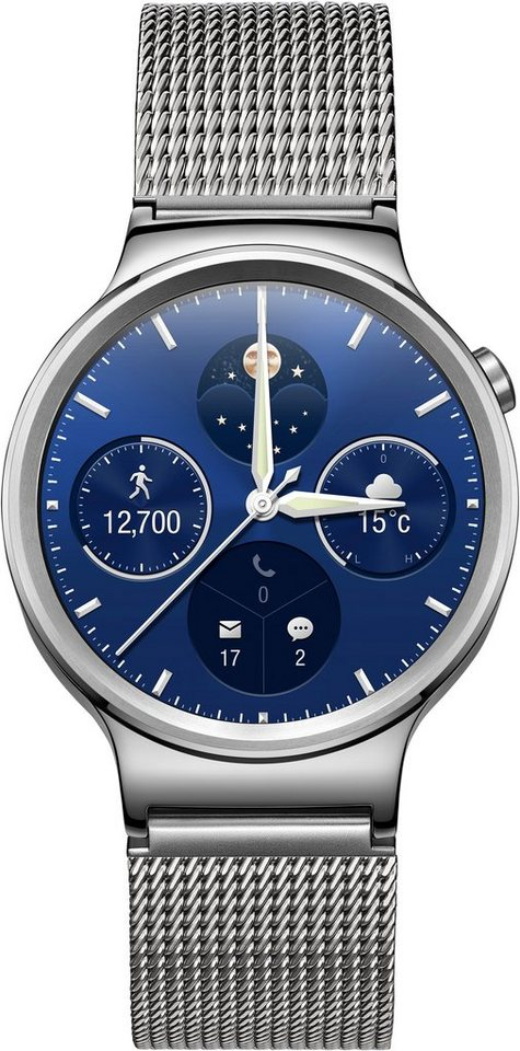 Huawei Watch Classic Smartwatch, Android Wear™, 3,56 cm (1,4 Zoll) AMOLED-Touchscreen Display in Edelstahl + Netzband
