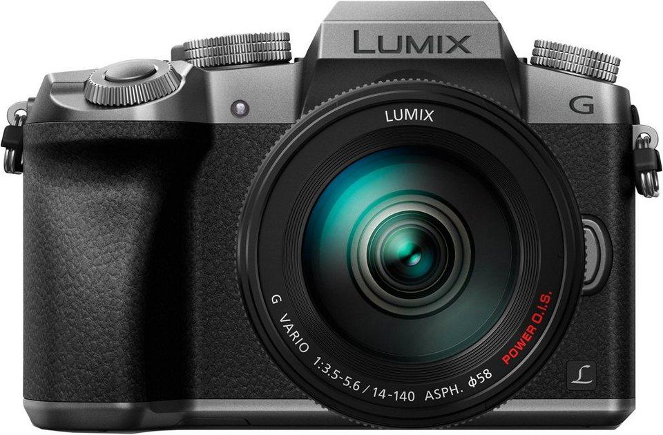 Lumix Panasonic DMC-G70HEG System Kamera, Superzoom-Objektiv Lumix G Vario 14-140 mm, 16,1 Megapixel in silberfarben