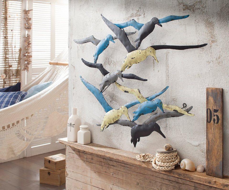 3D-Wandbild mit Möwen in matten Farben im used look