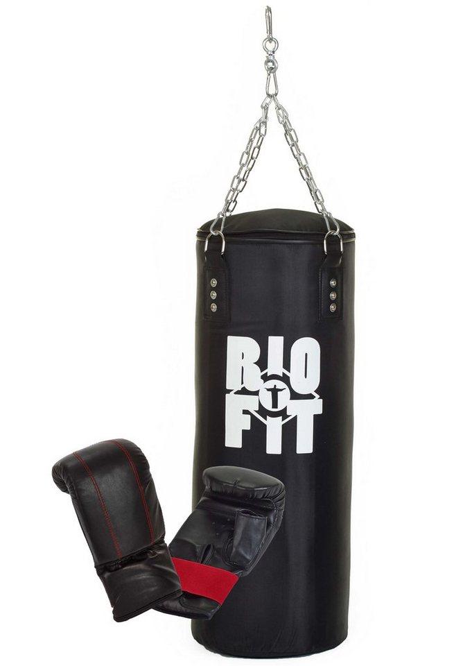 Rio Fit Set: Boxsack und Boxhandschuhe (2tlg.) in schwarz