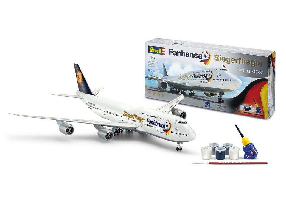 Revell® Modellbausatz Flugzeug, »Boeing 747-8 Fanhansa Siegerflieger«, Maßstab 1:144 in weiß