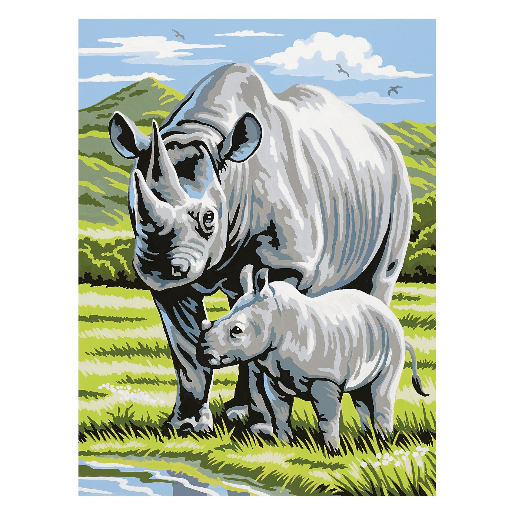 MAMMUT Spiel und Geschenk Malen nach Zahlen ab 8 Nashorn