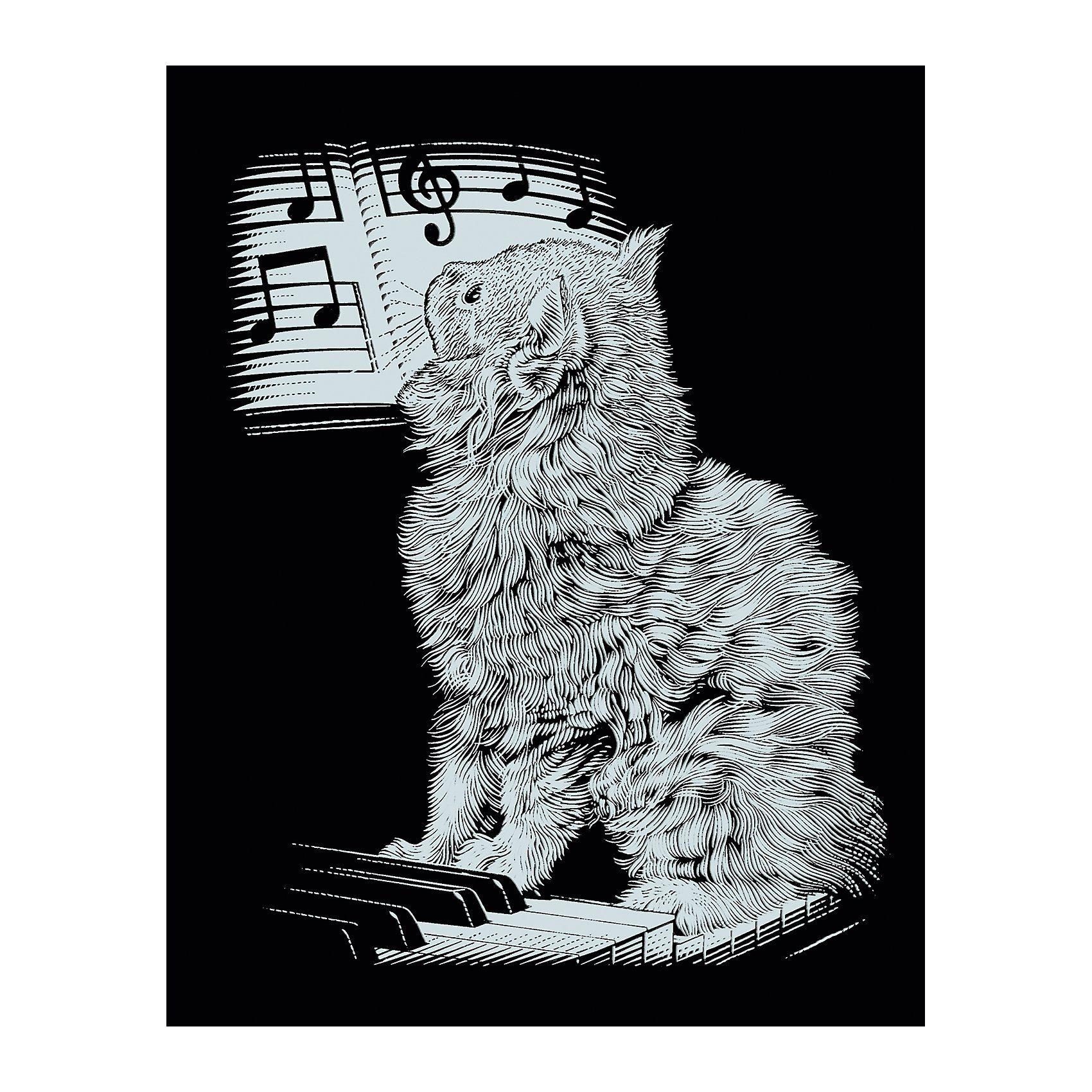 MAMMUT Spiel und Geschenk Scraper Silber-Kratzbild Katze am Piano