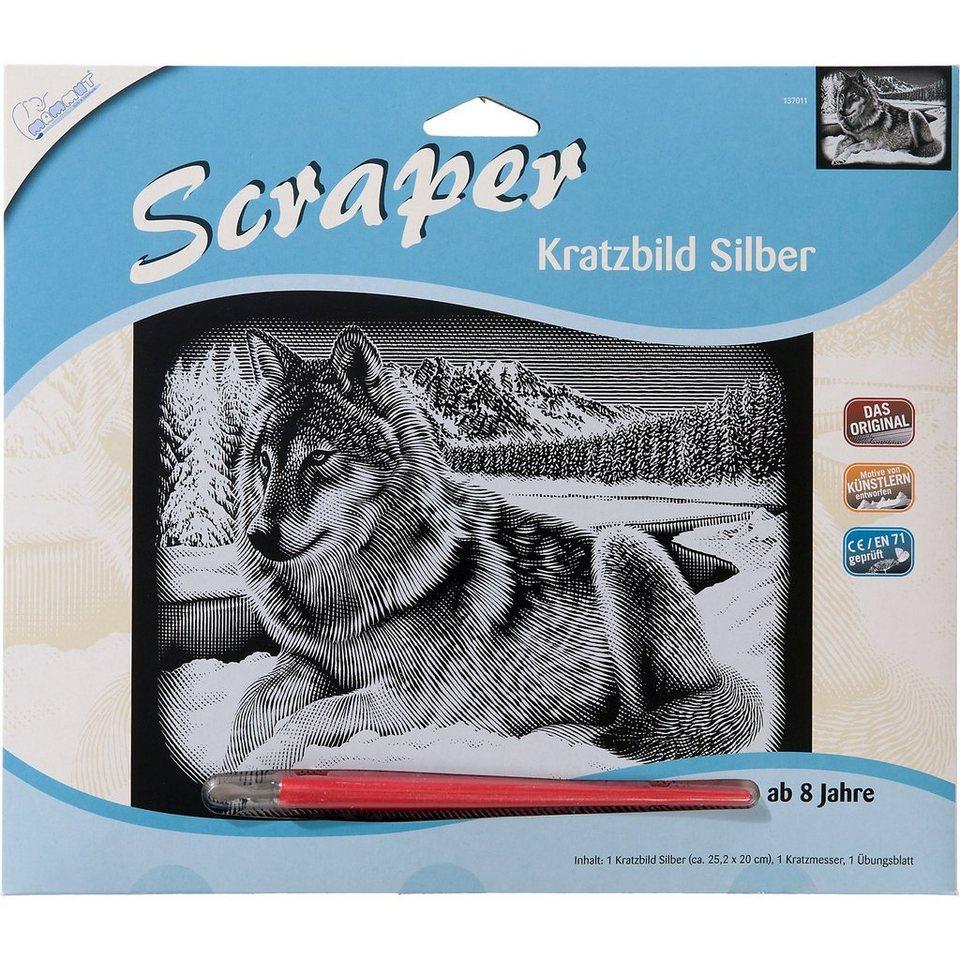 MAMMUT Spiel und Geschenk Scraper Silber-Kratzbild Wolf