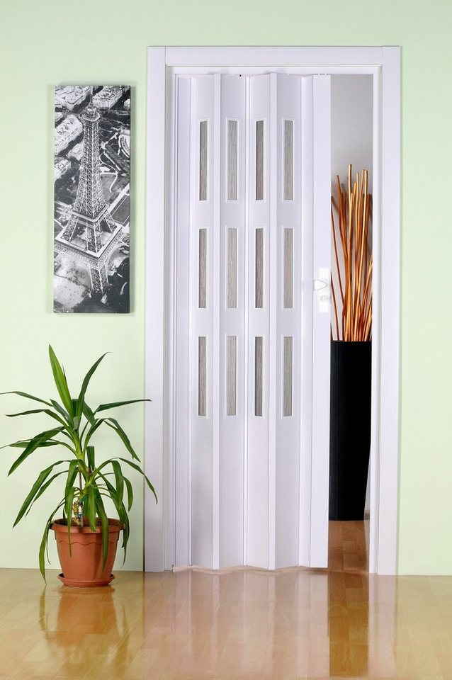 Kunststoff-Falttür, Höhe nach Maß, weiß (mit Fenster) in weiß