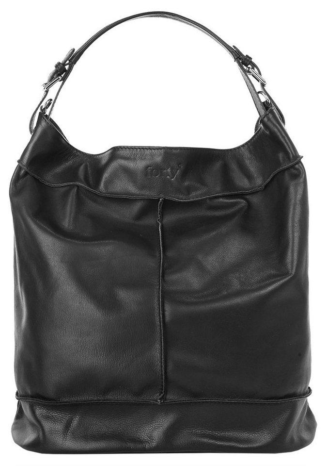 Forty degrees Leder Damen Shopper in schwarz
