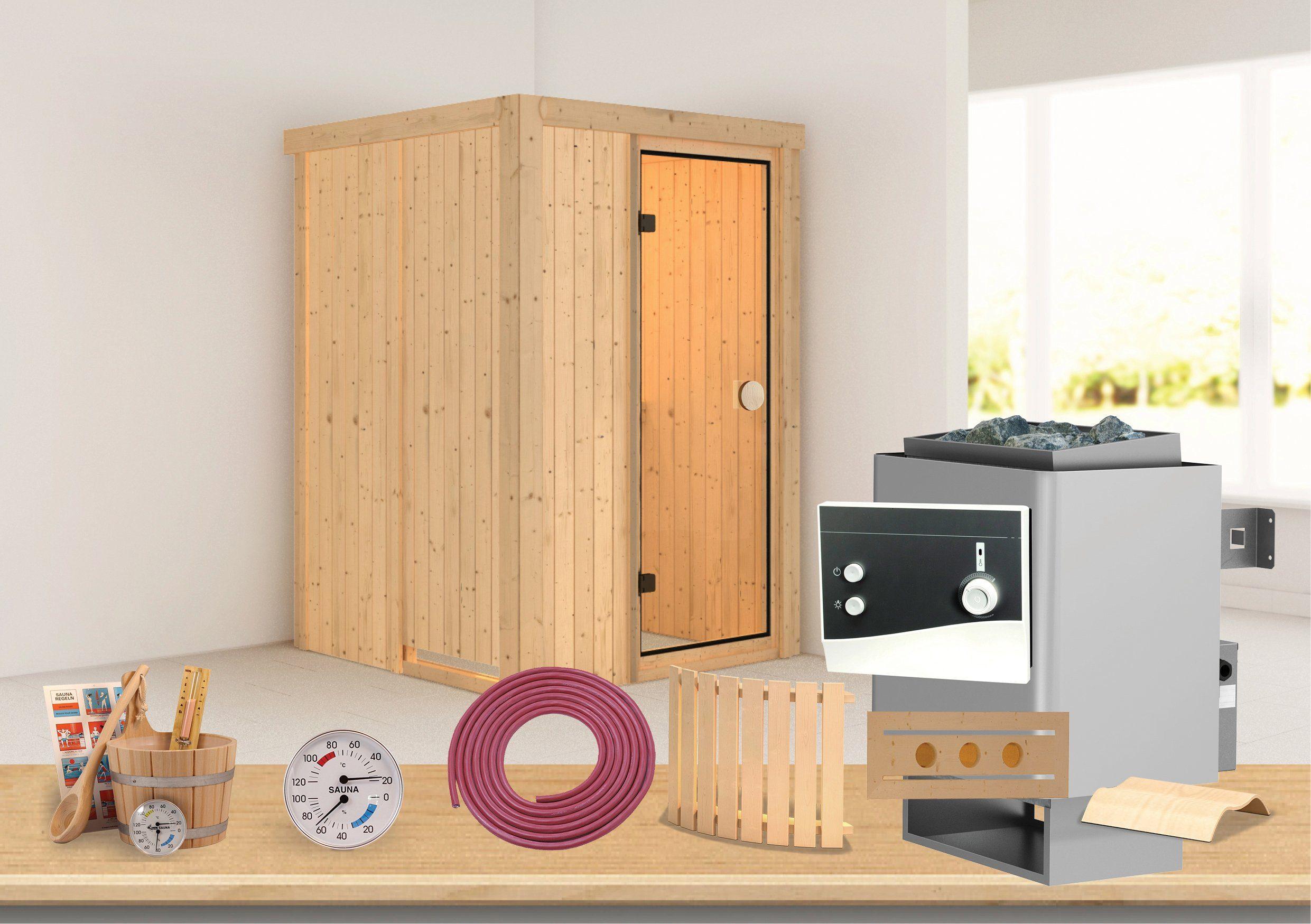 Sauna »Linda«, 135/135/198 cm, 7,5-KW-Kombiofen