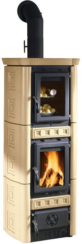 Kaminofen »Gaia Forno«, Kachel beige, 6 kW, Backofen mit Temperaturanzeige, Gussfeueraum in natur