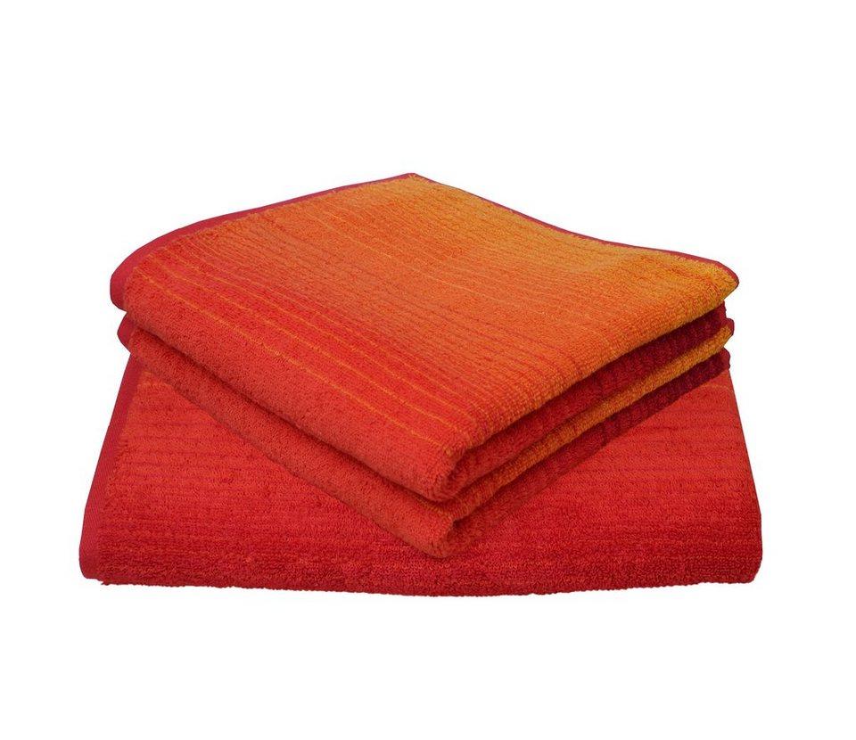 Handtuch Set, Dyckhoff, »Colori«, mit Farbverlauf in rot