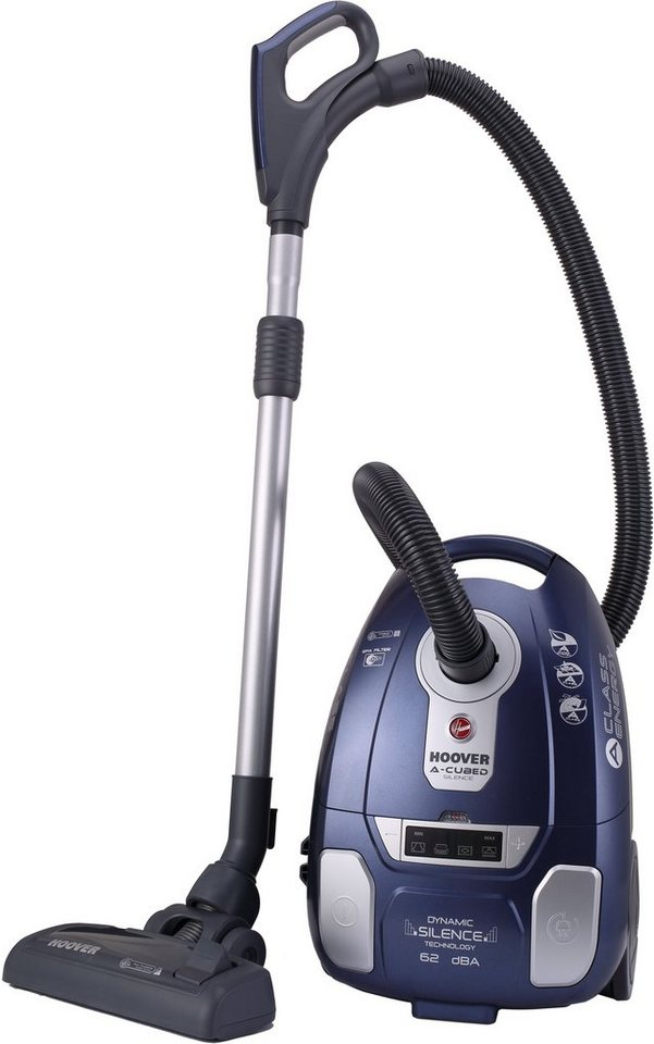 Hoover Bodenstaubsauger mit Staubbeutel A-cubed Silence AC73_AC20 in blau metallic / silber