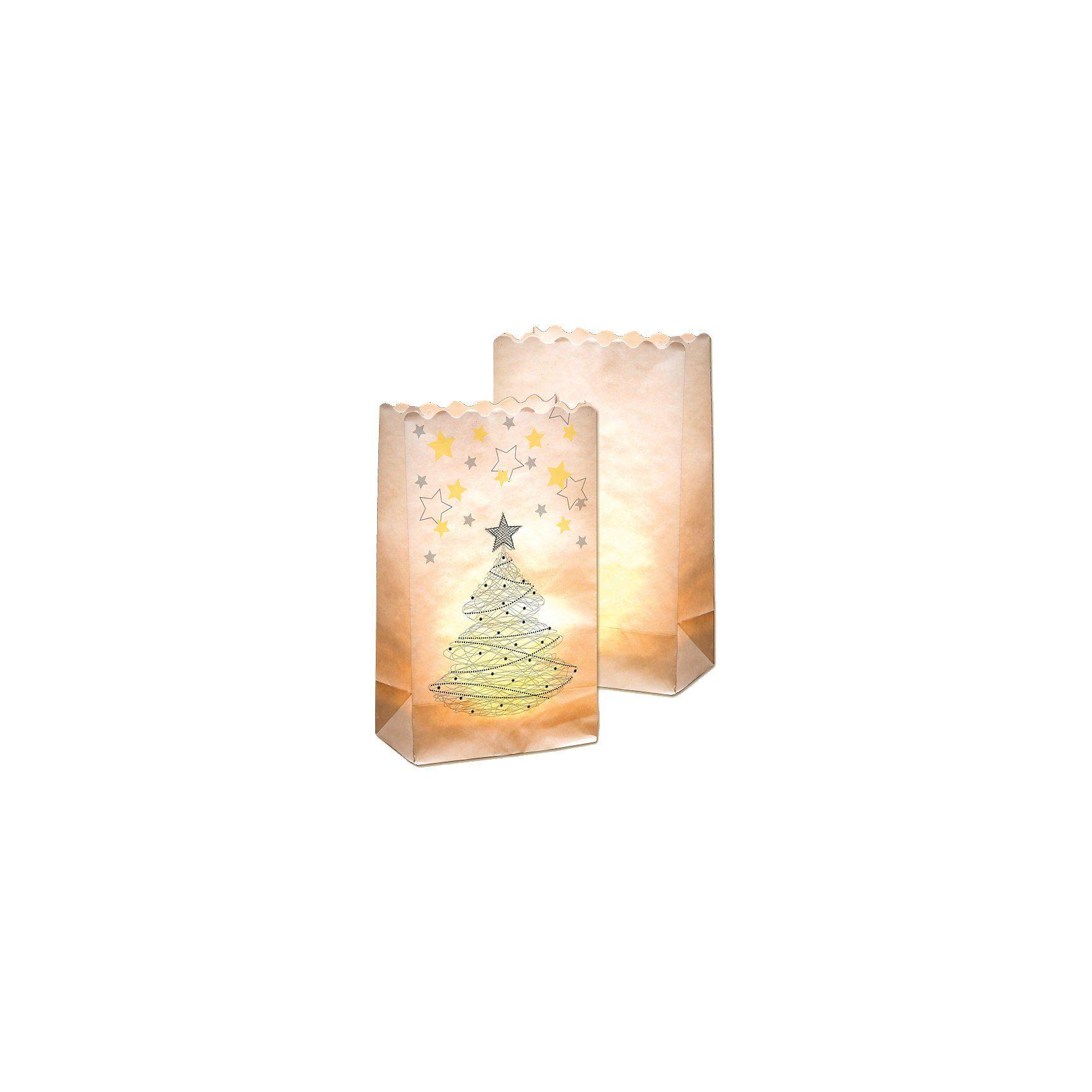 Folia Lichtertüten aus Papier Motiv Weihnachtsbaum, 10 Stück