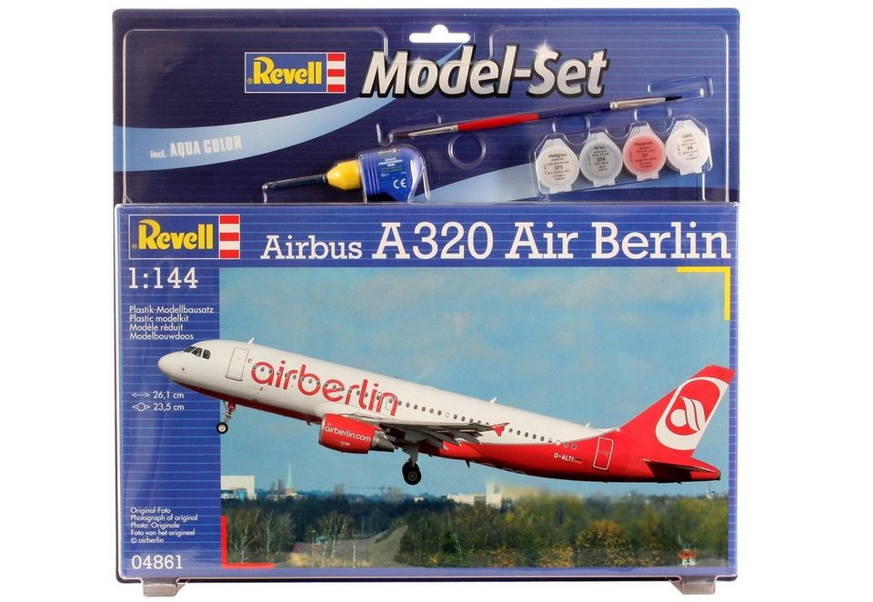 Revell® Modellbausatz Flugzeug mit Zubehör, Maßstab 1:144 , »Model Set - Airbus A320 AirBerlin« in weiß