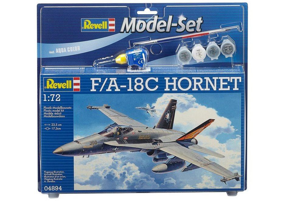 Revell® Modellbausatz Flugzeug mit Zubehör, Maßstab 1:72, »Model Set - F/A-18C Hornet« in grau