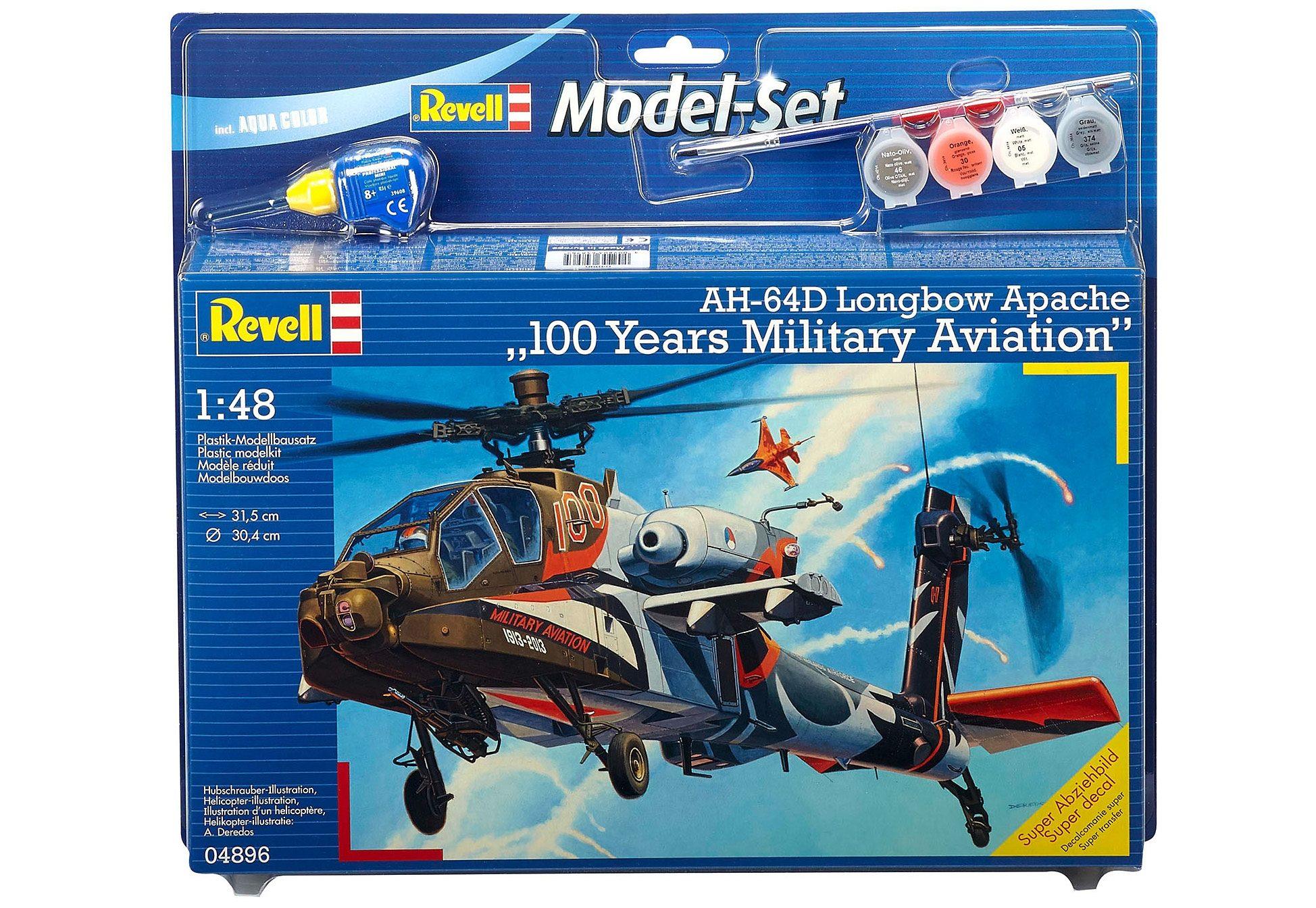 Revell® Modellbausatz Hubschrauber »AH-64D Apache 100-Yrs. Military Aviation«, 1:48