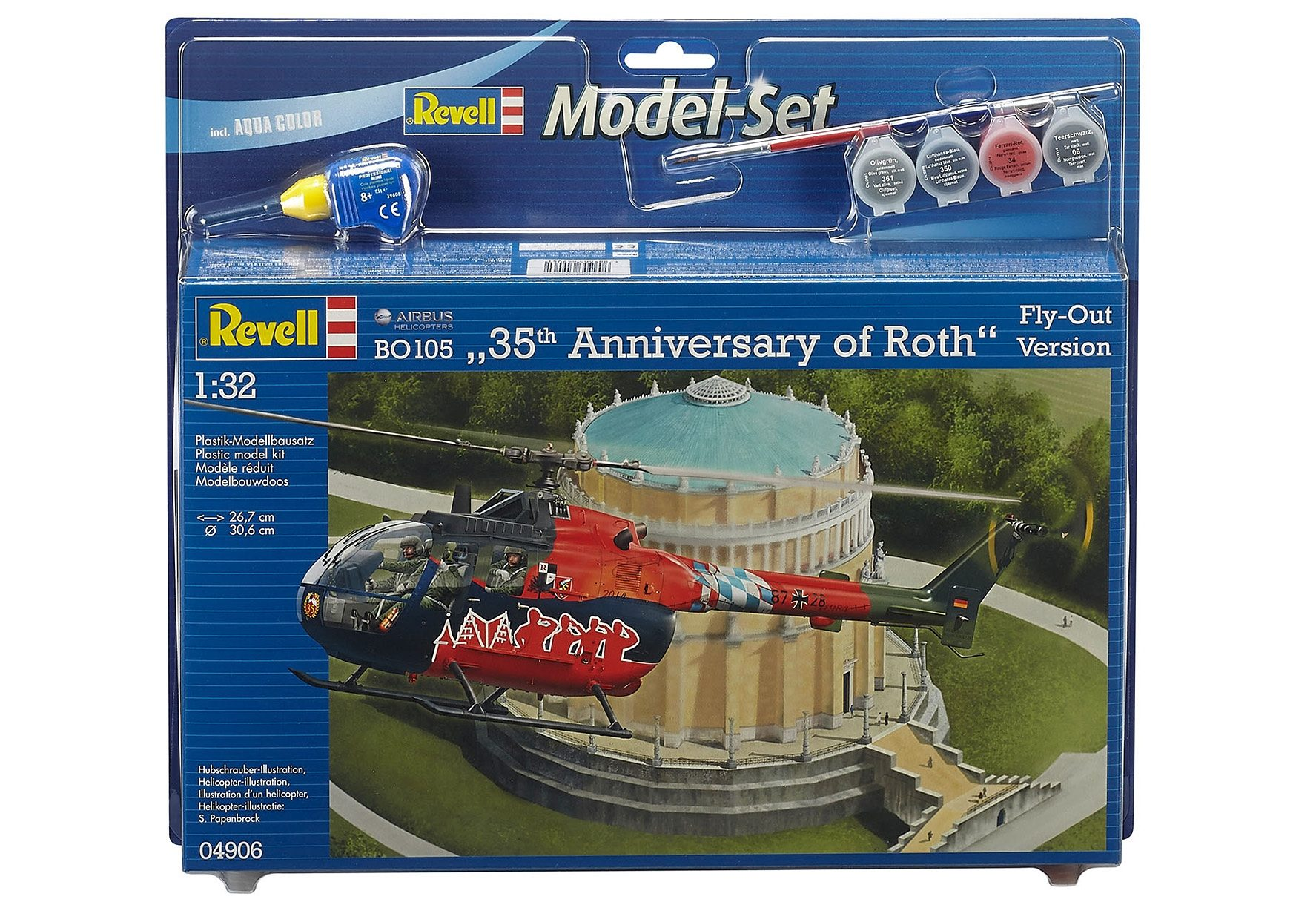 Revell® Modellbausatz Hubschrauber mit Zubehör, Maßstab 1:32, »BO 105 Fly Out Paintin«