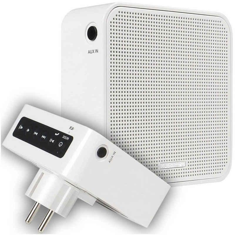 AudioAffairs »PR 002 WH« Steckdosen-Radio (UKW, Bluetooth, Freisprechanlage, Akku, Aux-In)