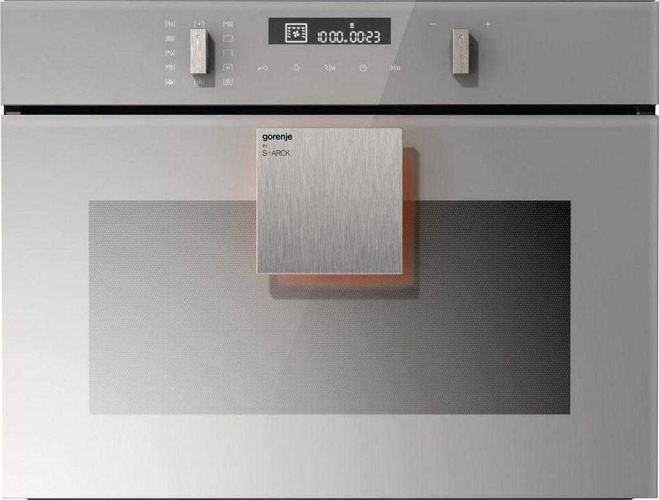 Gorenje by Starck® Kompaktbackofen mit Mikrowellenfunktion BCM547ST, 2.200 Watt in silbergrau